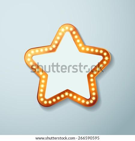Retro cinema bulb sign star shape - vintage old theater casino or circus illuminated light frame banner. Vector illustration - stock vector