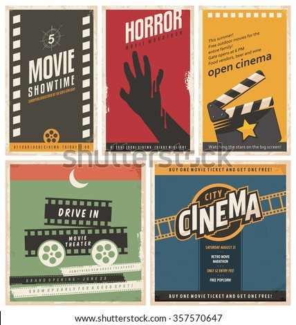 Retro Cinema Posters Flyers Collection Vintage Stock Vector