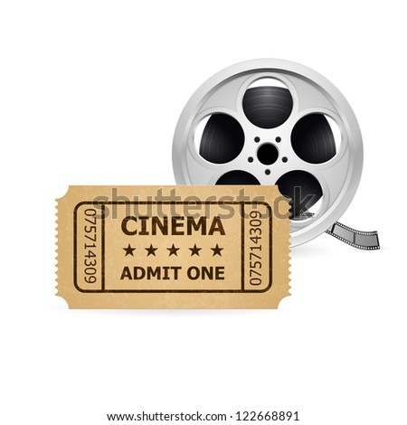 Retro cinema ticket and film reel.  Illustration of designer on a white background.