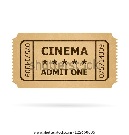 Retro cinema ticket. Illustration of designer on a white background. - stock vector