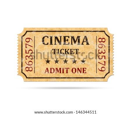 Retro cinema ticket on white background, vector illustration - stock vector