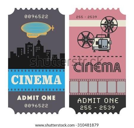 Retro cinema ticket, vector illustration - stock vector
