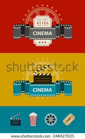 Retro cinematography banners with icons flat design. Eps10 vector illustration. Isolated on white background - stock vector