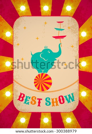 Retro circus poster with elephant on ball