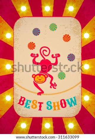 Retro circus poster with monkey and balls - stock vector
