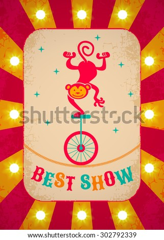 Retro circus poster with monkey on bicycle  - stock vector