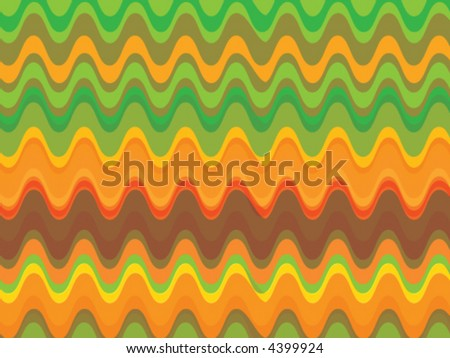 retro citrus waves (vector) - illustrated background - stock vector