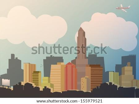 Retro City Background -Vector Illustration - stock vector