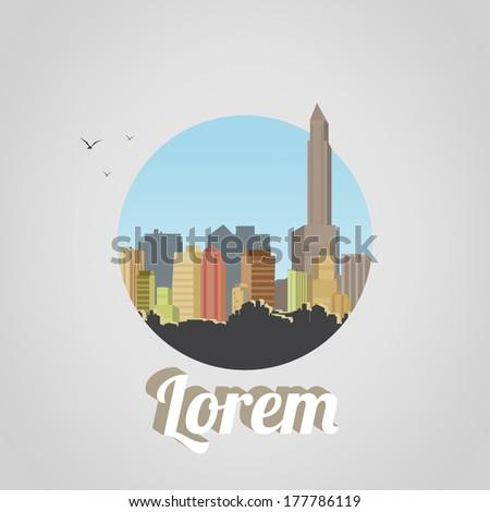 Retro City Background - Vector Illustration - stock vector