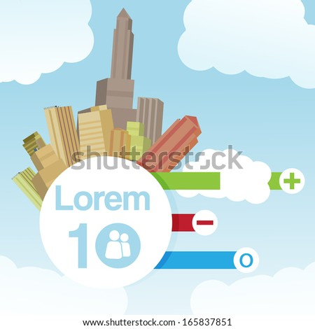 Retro City Background with Infographic  - Vector Illustration - stock vector