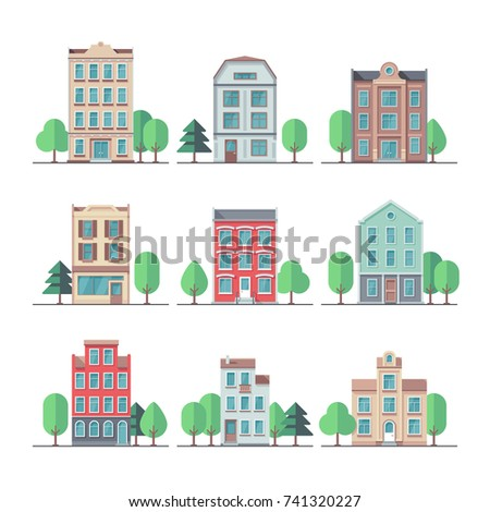 Retro City Houses Vintage Apartment Buildings Vector Set Building House And Home