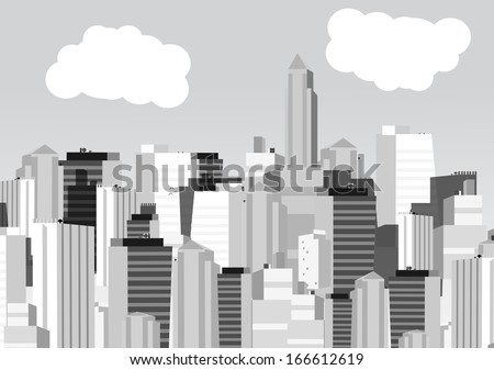Retro City in Black and White Background - Vector Illustration - stock vector