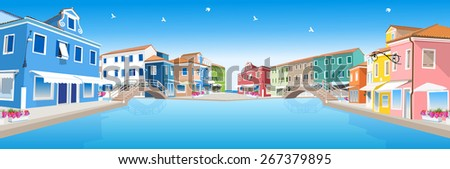 Retro city street with water canal and bridges - stock vector