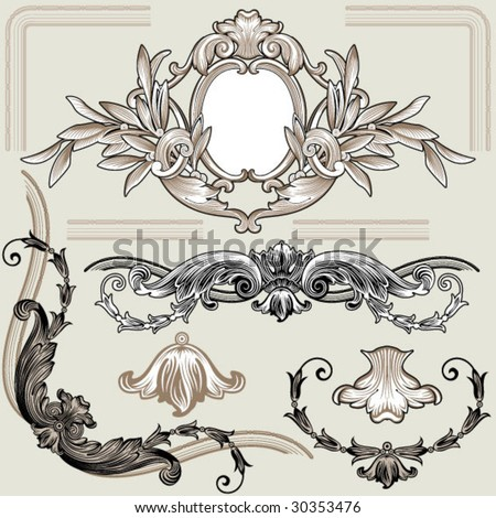 retro classic decor elements - stock vector