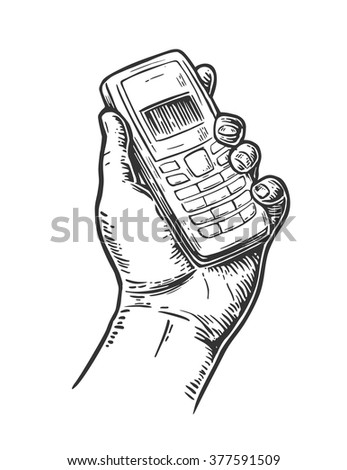 Retro classic telephone in male hand. Isolated on white background. Vintage vector engraving illustration for info graphic, poster, web.