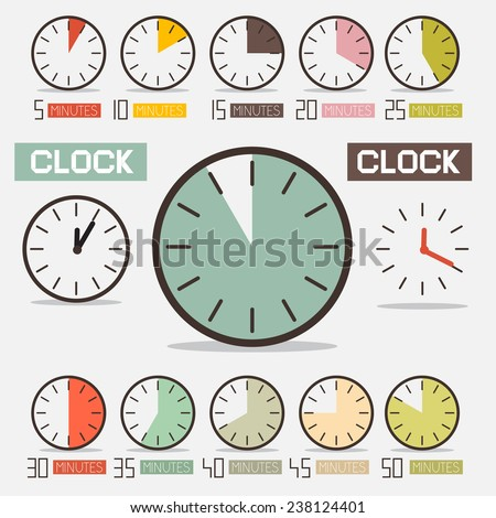 Retro Clock - Time Countdown Vector Set - stock vector