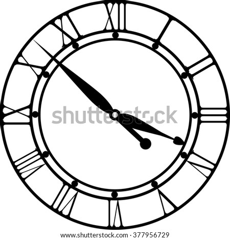 retro clock with Roman Dial - stock vector