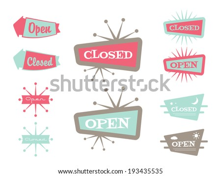 Retro Closed and Open Sign/Banners in Color. - stock vector