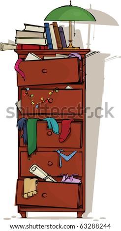 Retro closet full of junk - stock vector