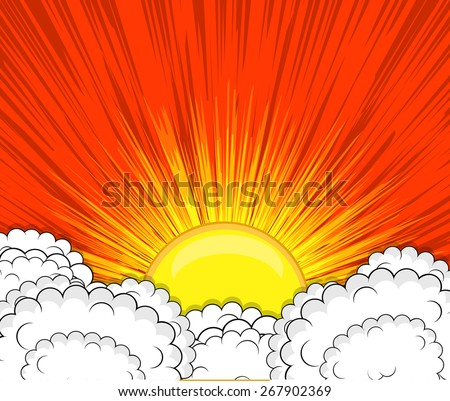 Retro Clouds Sunburst Background
