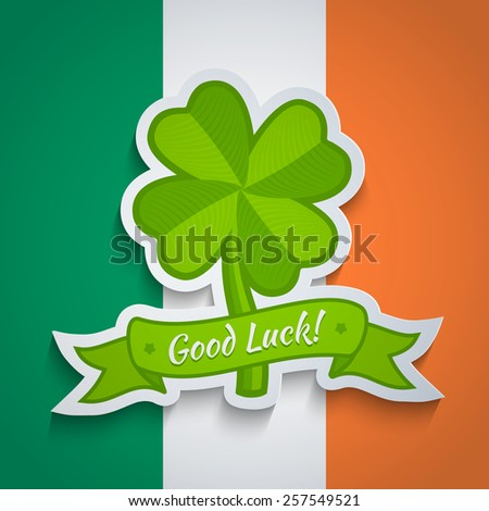 Retro clover sticker on Irish flag for Patrick day - stock vector