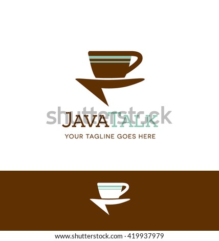 retro coffee cup talk bubble logo for business, organization or website - stock vector