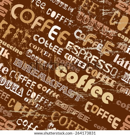 retro coffee seamless pattern, tag cloud, vector illustration