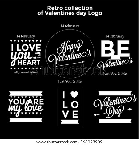 Retro collection of Valentines day logo