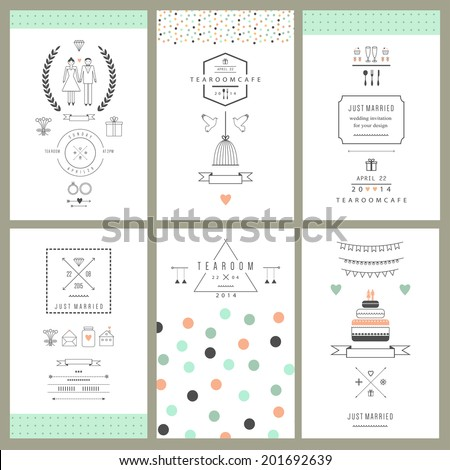 Retro collection of wedding invitations. Wedding, marriage, bridal. Isolated. Vector - stock vector