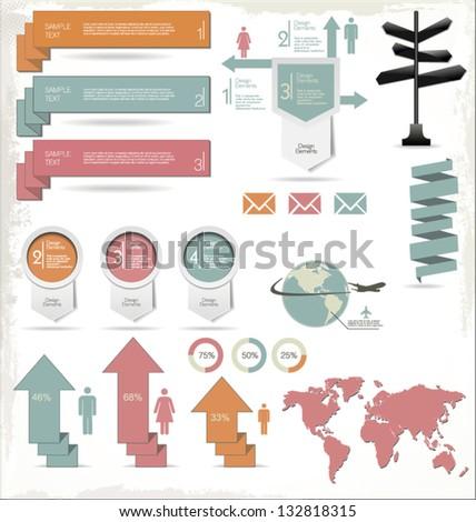 Retro Color Infographics Elements - stock vector