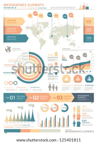 Retro Color Infographics Elements with World map Graphics on Old Paper Background. Vector illustration. can be used for workflow layout, diagram, step options, web design, number options banner. - stock vector