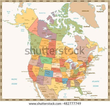 Us Canada Map Stock Images RoyaltyFree Images Vectors - Us and canada political map