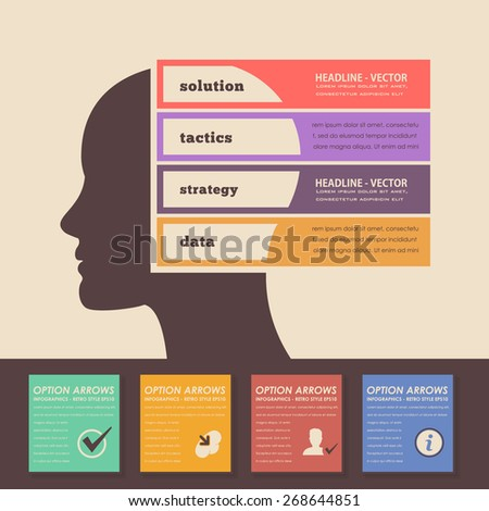 Retro Color Style Multicolor Graphics, Human Head Business Concept Vector Infographics  - stock vector