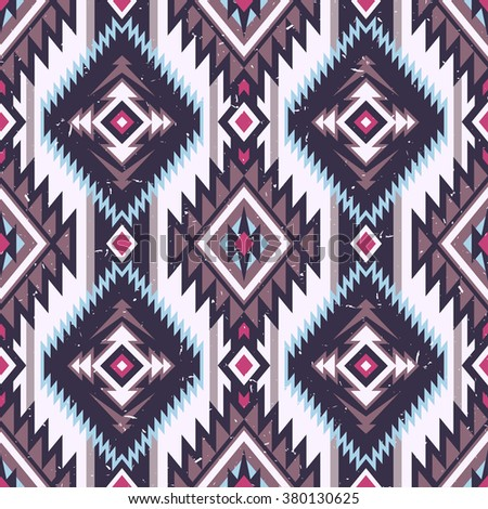 retro color tribal Navajo vector seamless pattern. aztec fancy abstract geometric art print. ethnic hipster backdrop. Wallpaper, cloth design, fabric, paper, cover, textile design template. - stock vector