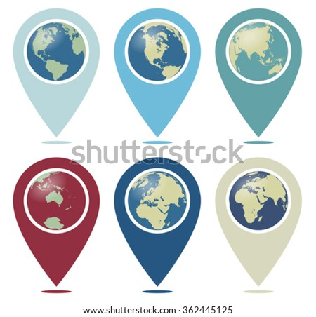 Retro Color World Pointer You are Here - stock vector