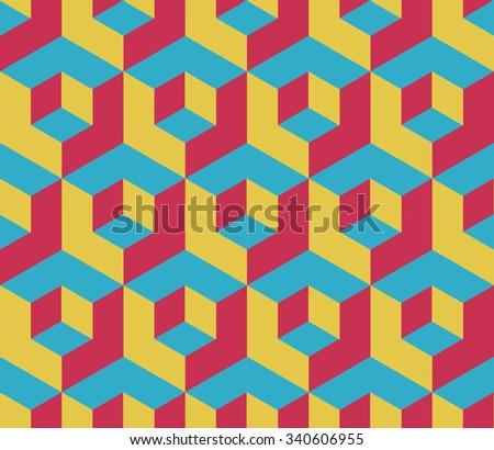 Retro colored cubic geometric seamless pattern - stock vector