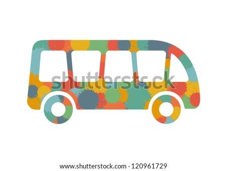 retro colored cute bus - stock vector