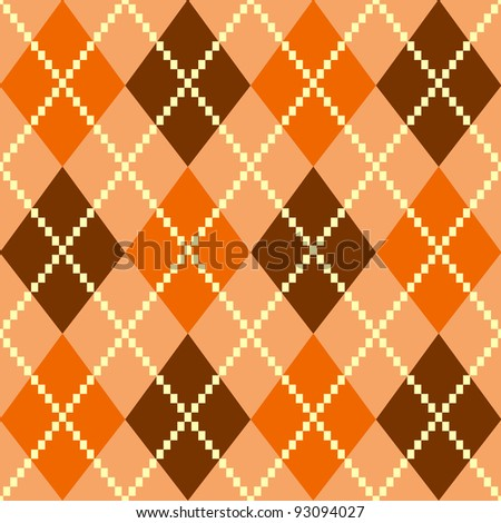 Retro colorful argyle pattern or background - brown - stock vector
