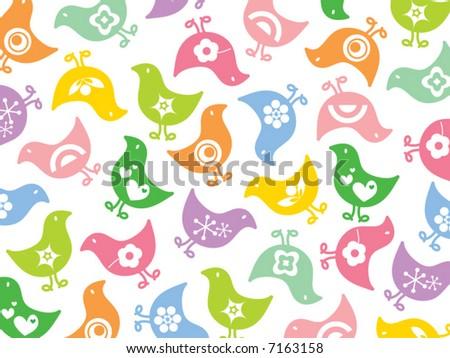 retro colorful fun icon chicks pattern (vector) - stock vector