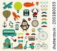 Retro Colorful Icon Set. Hipster Style. Vector Illustration. Vintage Cute  Air Transportation, Bikes, Objects, Mustaches - stock vector
