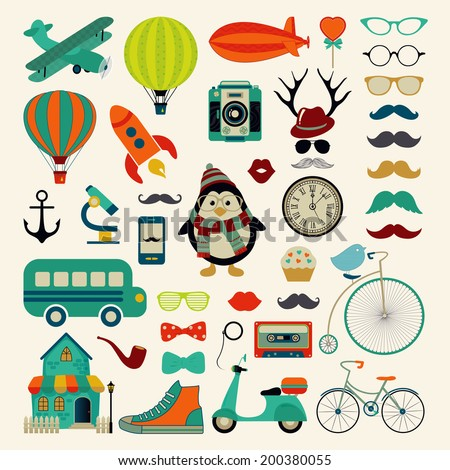 Retro Colorful Icon Set. Hipster Style. Vector Illustration. Vintage Cute  Air Transportation, Bikes, Objects, Mustaches