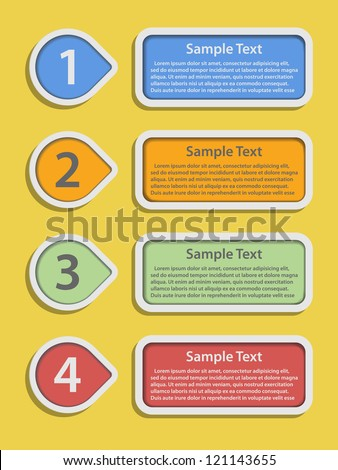 retro colorful numbered banners - stock vector