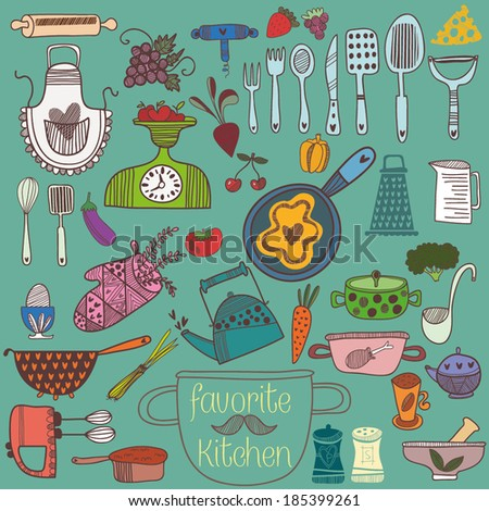 Retro Kitchen Clip Art Vector Images amp Illustrations  iStock
