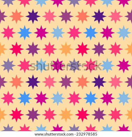Retro colorful star seamless pattern. Vector illustration for holiday kid background. Bright wallpaper. Mosaic baby style. - stock vector