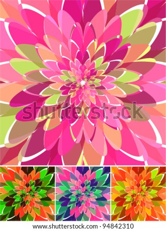 retro colors, beautiful abstract ornamental background set - stock vector