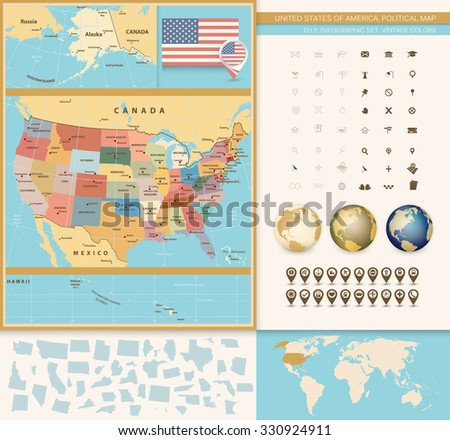 Retro Colors Political map of the USA with it's states and Large vector Image Set. - stock vector