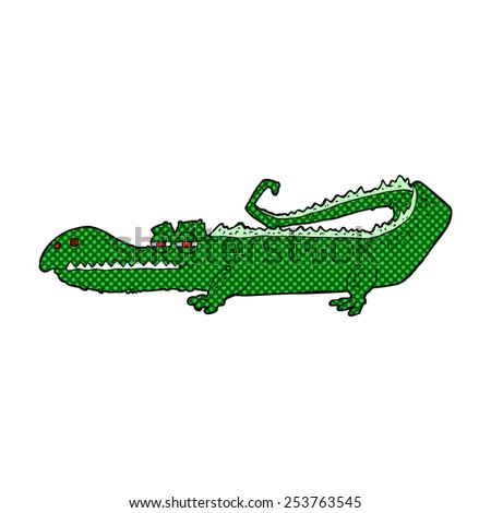 retro comic book style cartoon crocodile