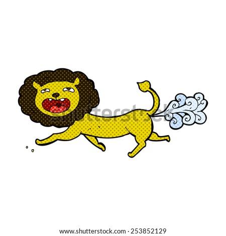 retro comic book style cartoon farting lion - stock vector
