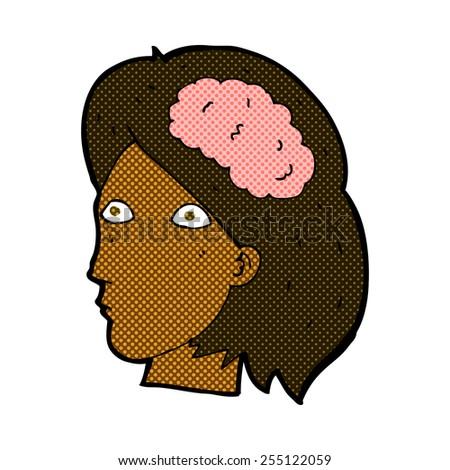 retro comic book style cartoon female head with brain symbol - stock vector