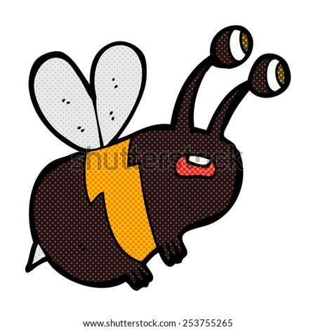 retro comic book style cartoon frightened bee - stock vector